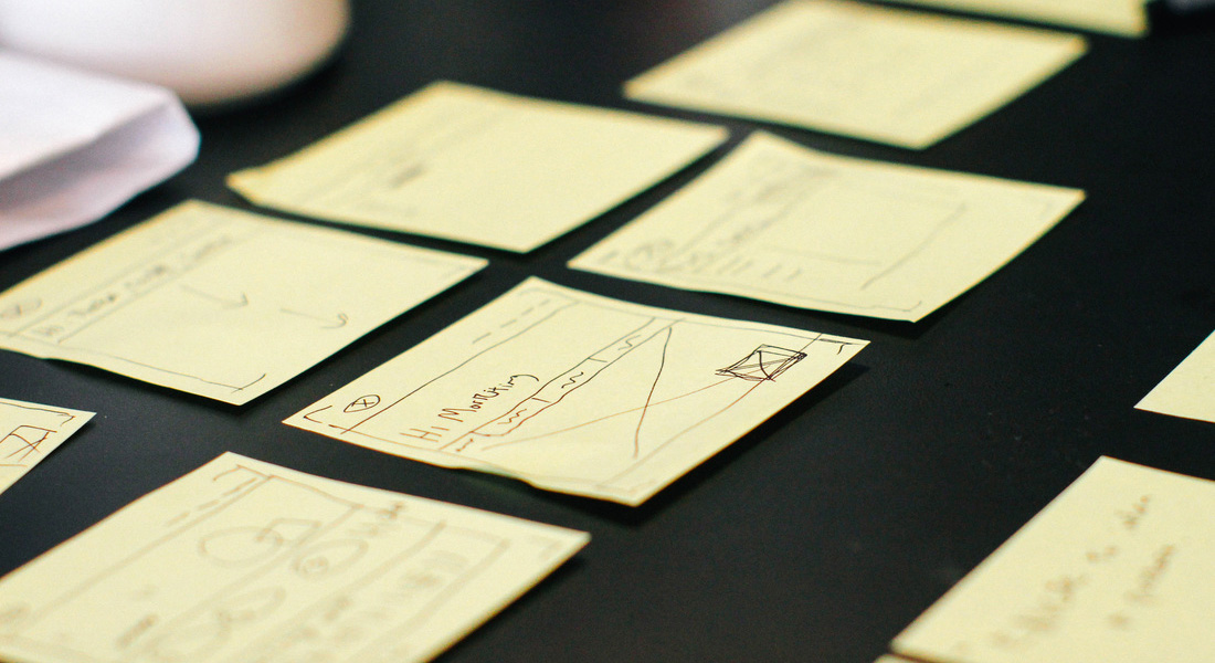 Image of multiple notes written on small square sheets of paper lined up on a table